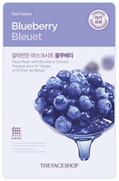 The Face Shop Real Nature - Blueberry - koreanische Tuchmaske