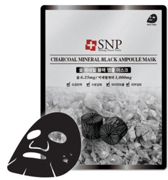 SNP Charcoal Mineral Black Ampoule Mask - Aktivkohle Gesichtsmaske - koreanische Tuchmaske - 25ml